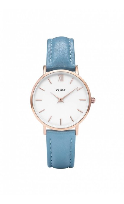 Cluse Minuit Rose Gold White/Retro Blue