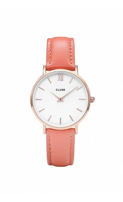 Cluse Minuit Rose Gold White/Flamingo