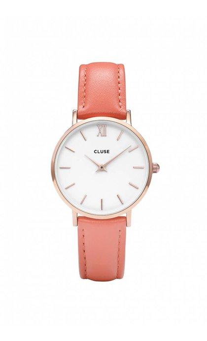 Cluse Minuit Rose Gold White Flamingo