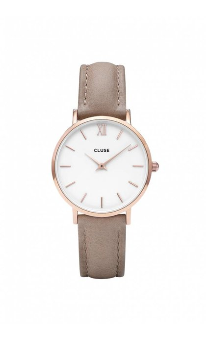 Cluse Minuit Rose Gold White/Hazelnut