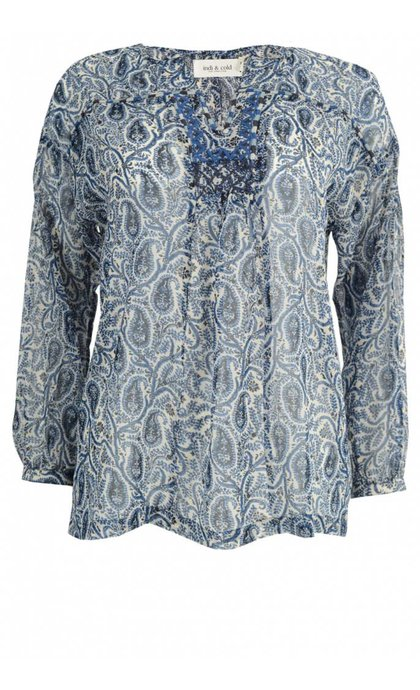Indi & Cold Printed Blouse With Embroidering and Lace Cobaldo