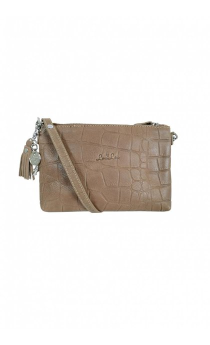 By LouLou 01Pouch Vintage Croco Leren Tas Sand