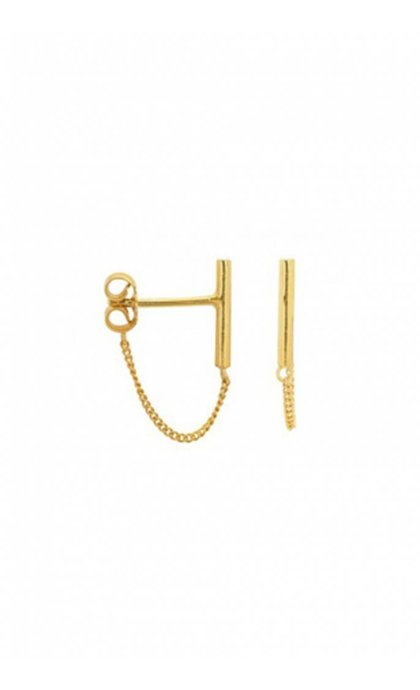 Anna + Nina Bar Chain Oorsteker Goldplated