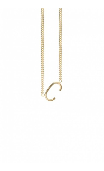 Anna + Nina Initial Letter Necklace C Goldplated