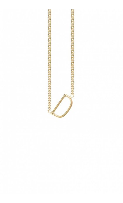 Anna + Nina Initial Letter Necklace D Goldplated
