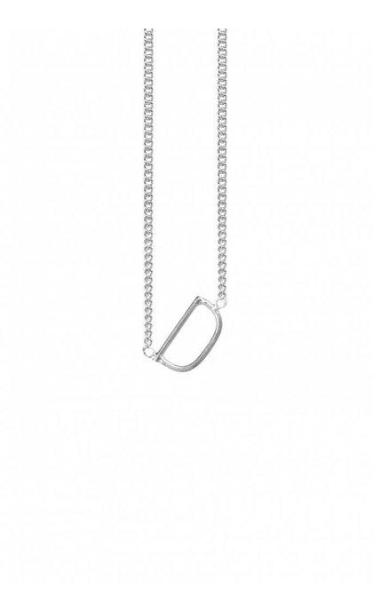 Anna + Nina Initial Letter Ketting D Zilver