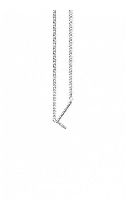 Anna + Nina Initial Letter Ketting L Zilver