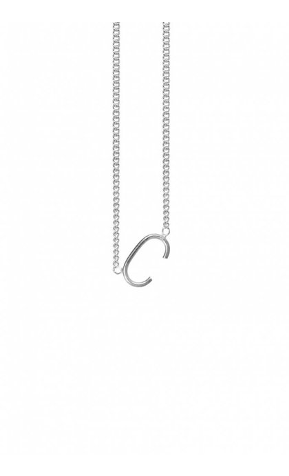 Anna + Nina Initial Letter Necklace C Silver
