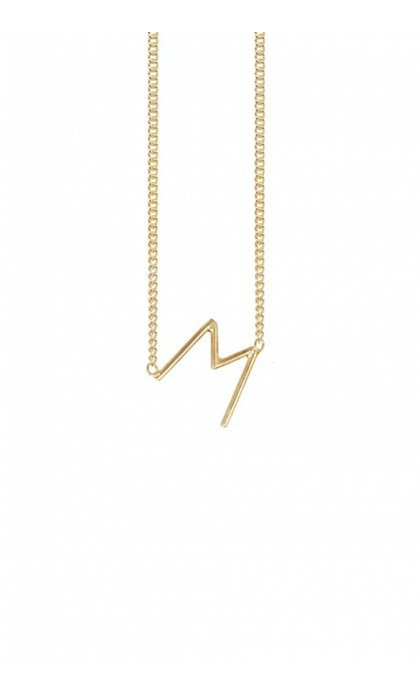 Anna + Nina Initial Letter Ketting M Verguld