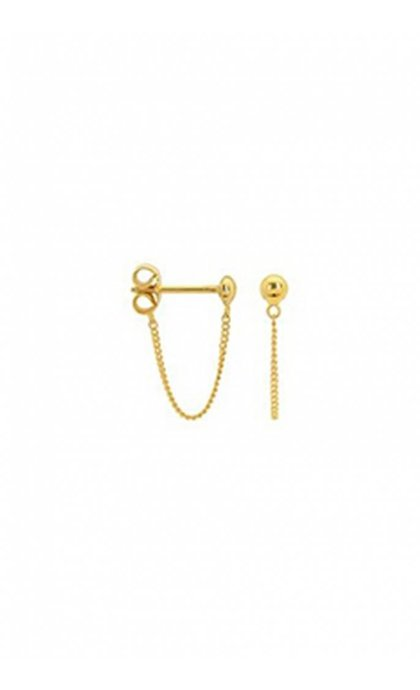 Anna + Nina Stud Chain Oorknop Goldplated