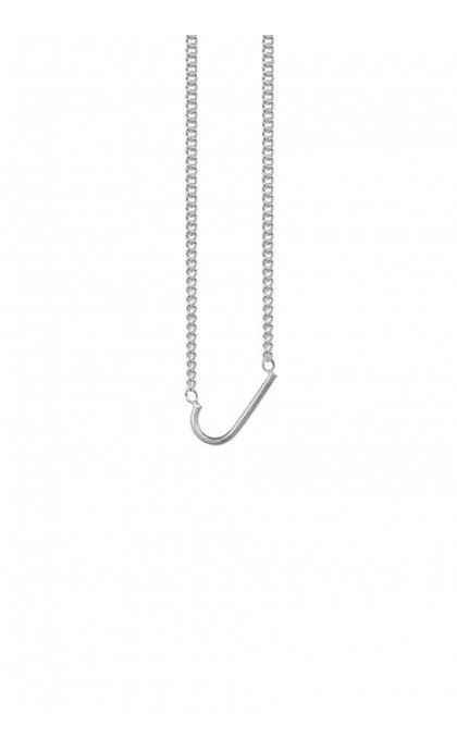 Anna + Nina Initial Letter Ketting  J Zilver