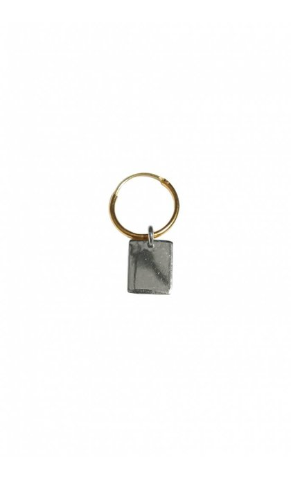 Fashionology Rectangle Tag Hoop Earring Mix Goldplated