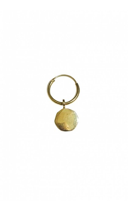 Fashionology Round Tag Hoop Earring Gold Plated