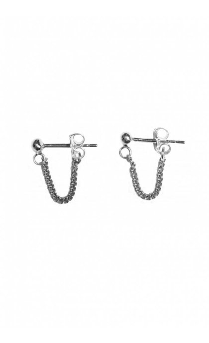 Fashionology Stud Chain Earpins Silver