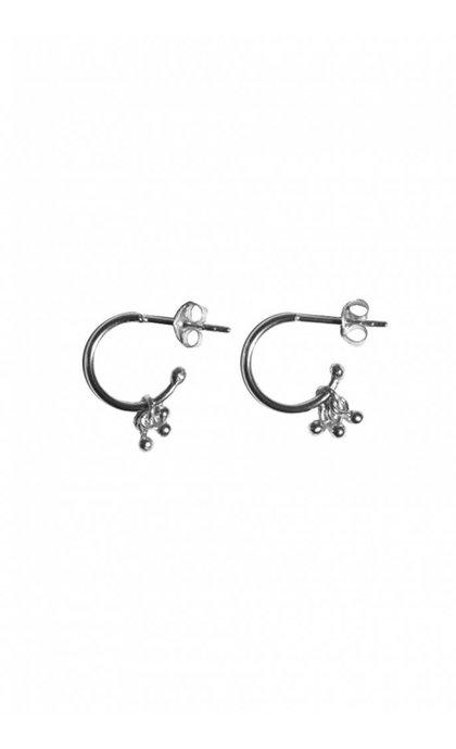 Fashionology Ball Cluster Open Hoop Earrings Silver
