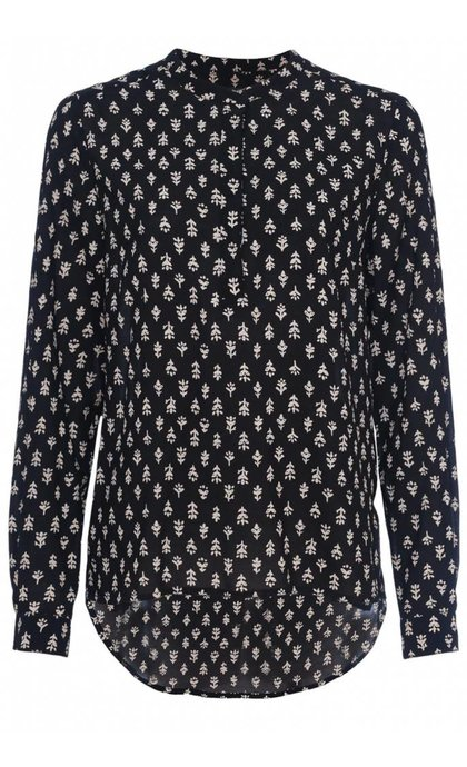 French Connection Rossine Voille Top Black Multi