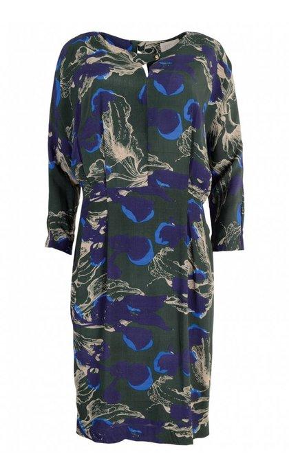 Minus Audrey Dress 9068 Green Floral Print