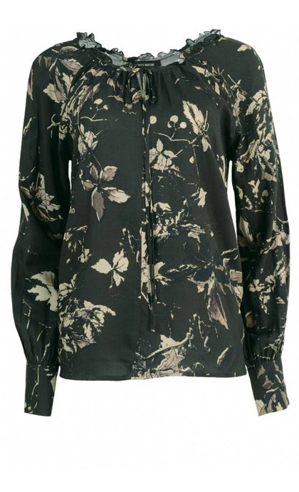 Mos Mosh Chandler Leaf Blouse 514 Light Army Print