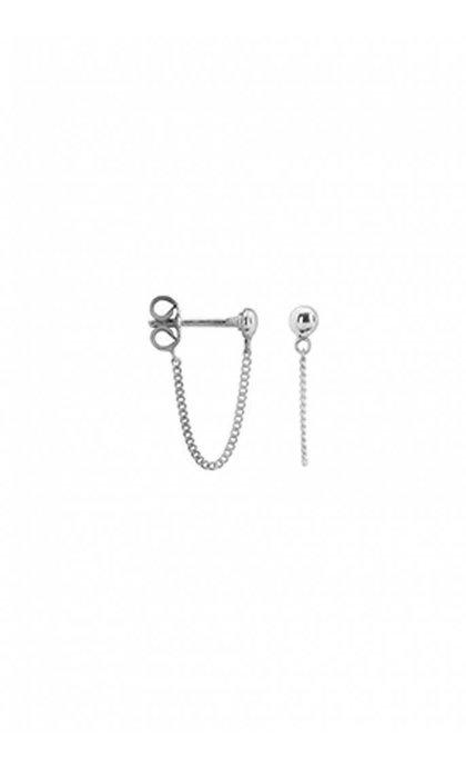 Anna + Nina Stud Chain Earring Silver