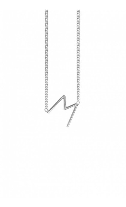 Anna + Nina Initial Letter Ketting M Zilver