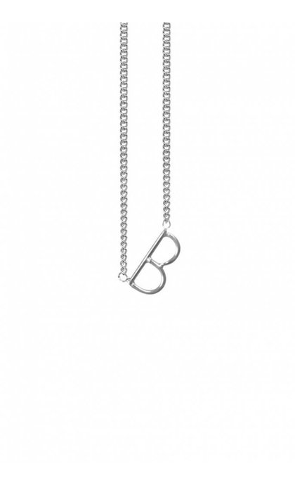 Anna + Nina Initial Letter B Necklace Silver