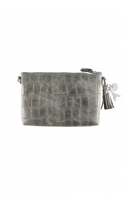 By LouLou 01Pouch Vintage Croco Dark Grey