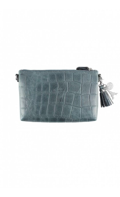 By LouLou 01Pouch Vintage Croco Blue