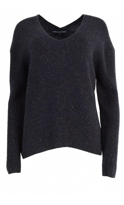 French Connection Two Tone Tweed Knits Jumper Utility Blue Multi