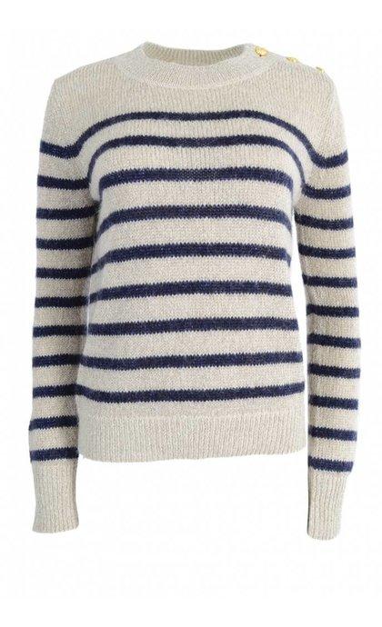 Leon & Harper Meryl Knit Stripes Off White