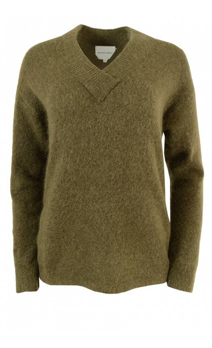 Second Female Brook Knit Deep V-neck Military