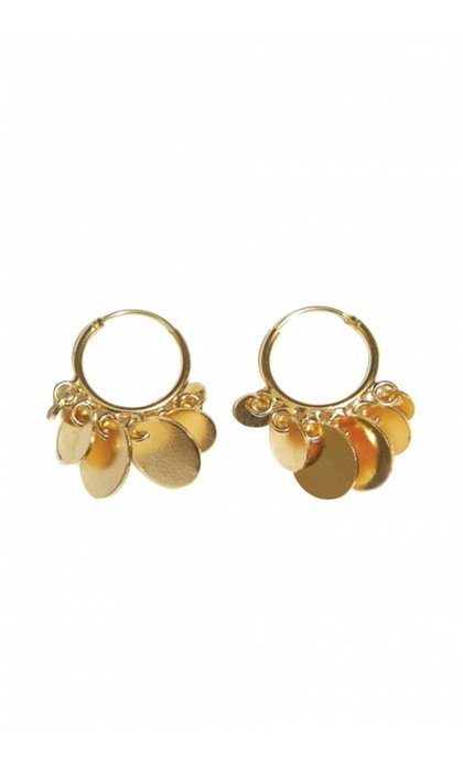 Fashionology Multi Disk Hoop Earrings Goldplated