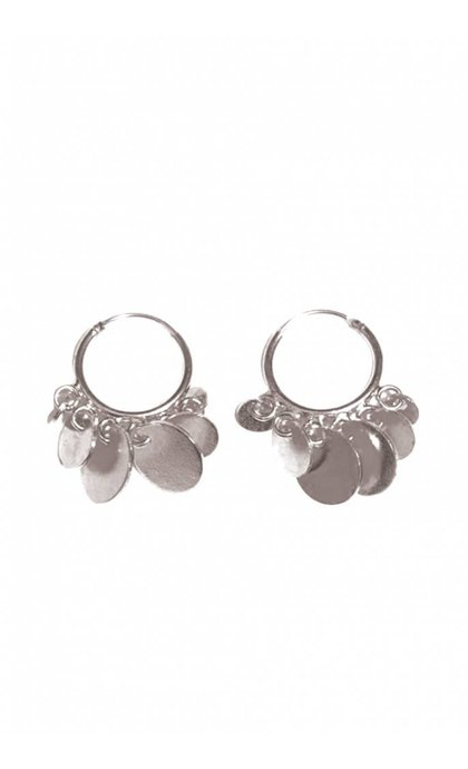 Fashionology Multi Disk Hoop Earrings Silver