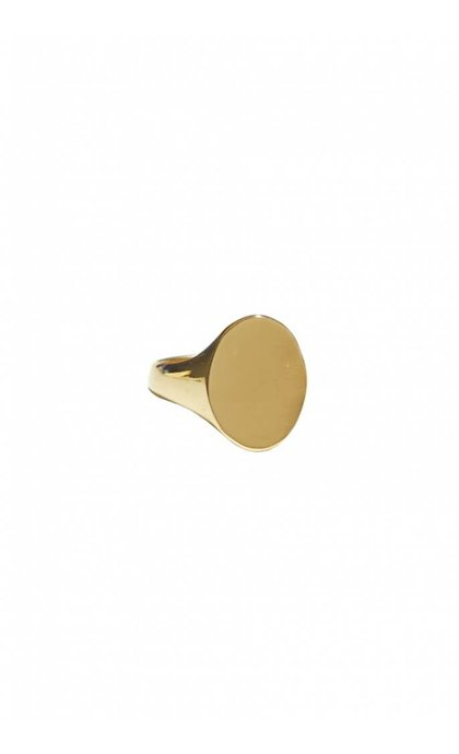 Fashionology Oval Signet Ring Goldplated