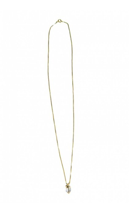 Fashionology Mini Clear Quartz Necklace Goldplated