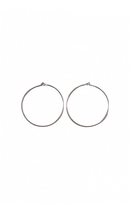 Fashionology Sleeper Hoop Earrings Silver 25mm