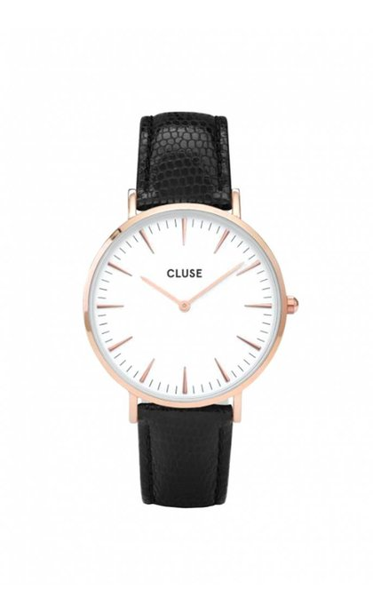 Cluse La boheme Rose Gold White/Black Lizard