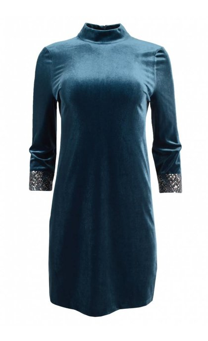 French Connection Aurore Velvet Tunic Deep Teal