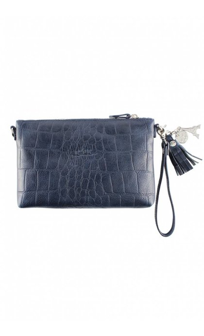 By LouLou 01 Pouch Vintage Croco Dark Blue