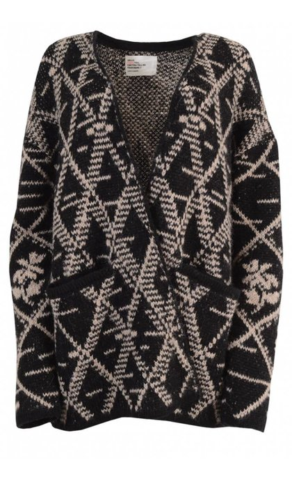 Leon & Harper Meggy Flower Cardigan Black