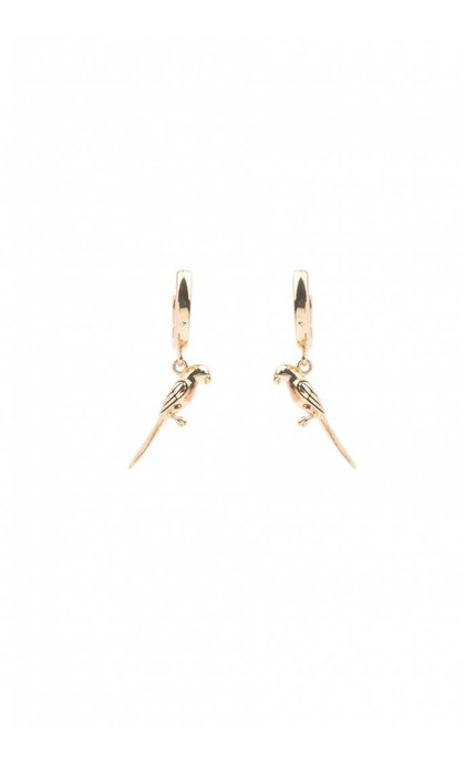 All the Luck in the World Souvenir Earrings Parrot Goldplated