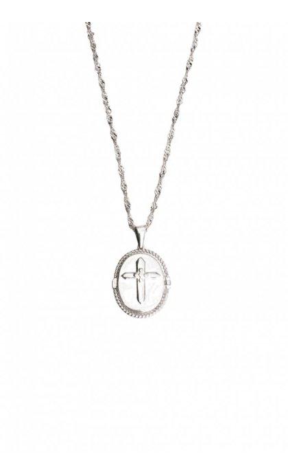 Lobi Medaillon met kruisje Zilver