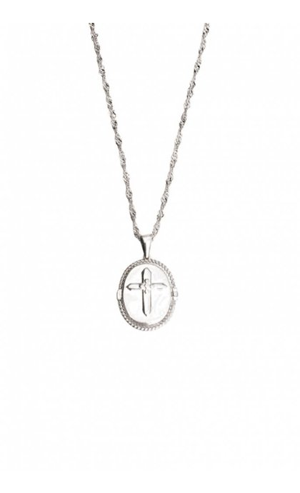 Lobi Medallion with Cross Silver