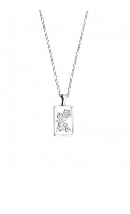 Lobi Rechthoekige Pendant with a rose Silver