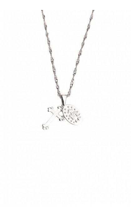 Lobi Vintage Necklace with Cross and Charm in silver