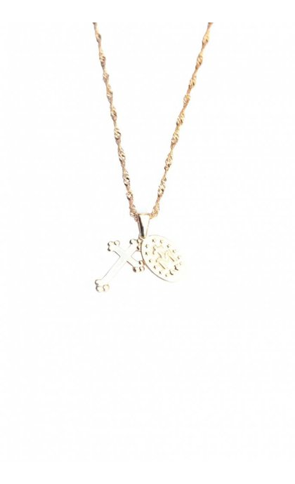 Lobi Vintage Necklace with Cross and Charm in Goldplated