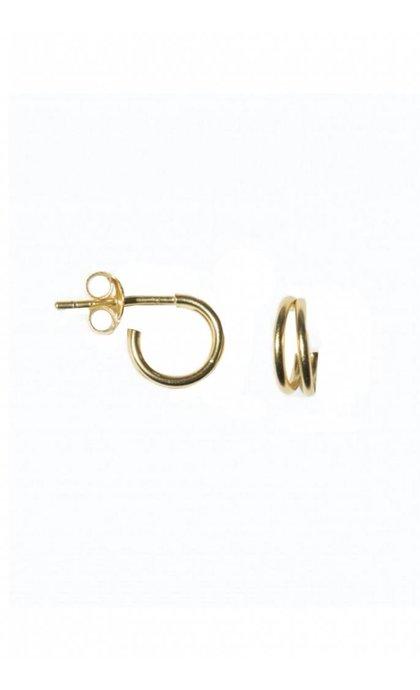 Fashionology Double Hoop Earring Goldplated