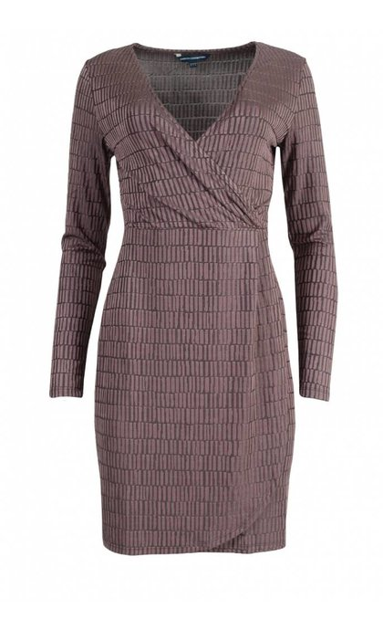 French Connection Linear Jazquard Dress Tyrian Rose