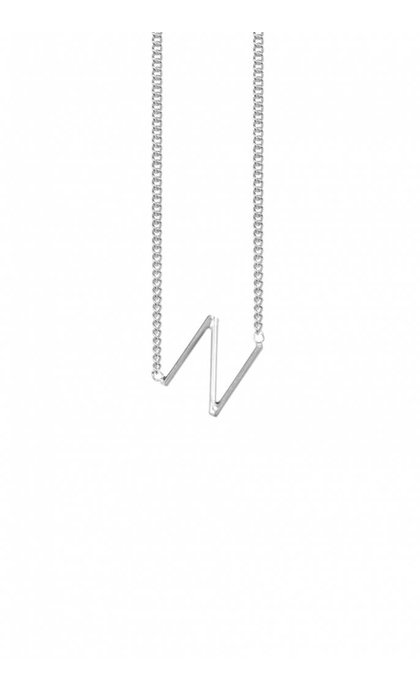 Anna + Nina Initial Letter Necklace Silver N