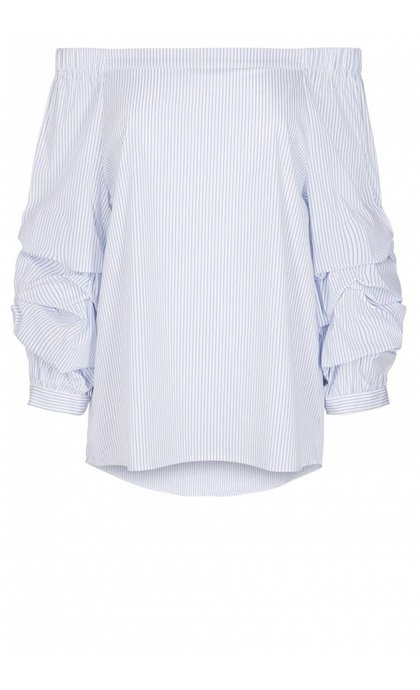 Mos Mosh Isla Blouse Light Blue Stripe