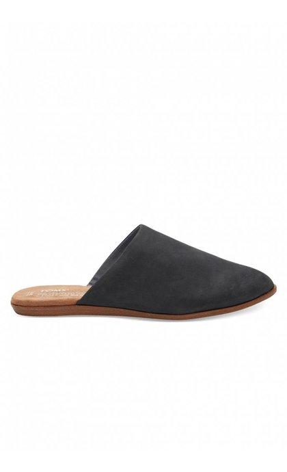 Toms Jutti Mule Black Leather Flat